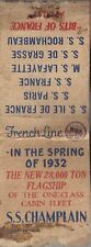 1932 Vintage Matchbook of FRENCH LINE S.S. CHAMPLAIN The New 28,000 Ton Flagship