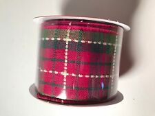 """Ribbon Crafting Floral Gift Wrapping Roll 18 Feet 2.5"""" Wide Plaid Christmas"""