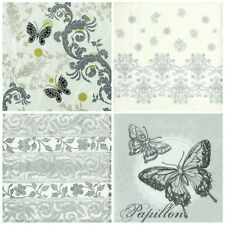 4x Single Table Party Paper Napkins for Decoupage Decopatch Craft Silver Mix