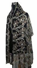 Elegant Oblong Lace Floral Scarf Wrap w/ Sequins, Black/Brown