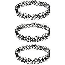 3 x Choker Necklace Black Set | Tatto Henna Jewelry Neckless Set of 3 | Black...