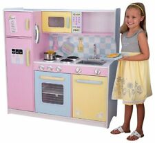 NEW Deluxe KidKraft Large Pastel Pink Wooden Children Kitchen Pretend Play Set
