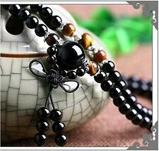 Stone Buddhist Black Obsidian /Tirger Eye108 Prayer Beads Mala Bracelet Necklac