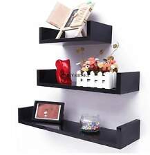 3PC Floating U Nesting Wall Shelf Display Decor Mount Ledge Storage Black