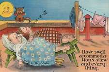 Hotel Palooka, Man & Woman in Bed, Cat - Old Vintage Linen Funny Comic Postcard