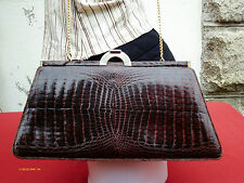 Vtg Original 60s Lge Brown Genuine Crocodile Skin Leather Clutch Shoulder Bag!
