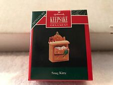 SNUG KITTY tiny CAT in dresser drawer CHRISTMAS ORNAMENT Hallmark Miniature 1992
