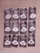 12 SET HONG KONG DISNEY NAME TAG PINS ALL ON ORIGINAL DISNEY PIN CARDS