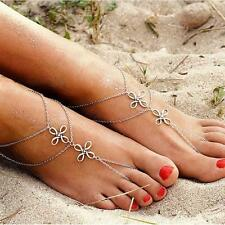 Boho Lady Beach Multilayer Chinese Knot Ankle Leaf Foot Tassel Chain Anklet AG