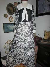 vtg Montgomery Ward Black White Floral Gauze Sheer Long Sleeve Maxi Dress 39""