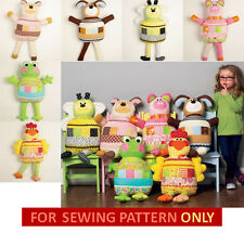 SALE!  SEWING PATTERN! MAKE FUN KIDS CLOTH TOYS! FROG~DOG~LAMB~CHICKEN~PIG~BEE!