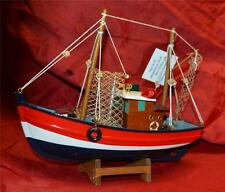 Hand Made 21.5cm WOODEN SEA MODEL ON STAND Boat Trawler Nautical Ship Fishermen