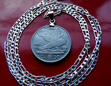 "SCARCE ITALIAN EAGLE Heritage Coin PENDANT ON A 20"" .925 STERLING Silver Chain"