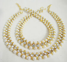 Designer Beautiful Gold Tone /Plated Party Wear Pearls  Stones Anklet /Payal Set