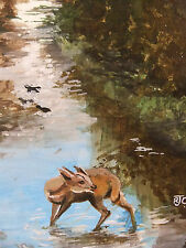Muntjac Deer, Seen in Thetfords Flooded Green Lane Original Painting on Canvas