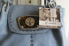 B. Makowsky Light Blue Bag NWT Silver Hardware Leopard Detailing - think Spring!