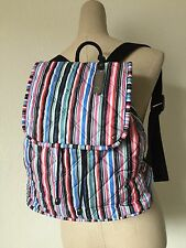 LeSportsac Multi Watercolor Stripe Quilted Signature Beverly Backpack 2240 P823