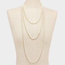 90 inch Long Strand Pearl Necklace / 8mm Beads / Cream Color