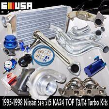 240sx S14 15 KA24 MANIFOLD+Elbow+Downpipe+Intercooler T3/T4 Bolt on Turbo Kits