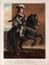 Stampa antica INFANTE di SPAGNA bambino a cavallo da Velasquez 1875 Old Print