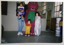 Vintage 1990s PHOTO Of Barney The Dinosaur Doing A Birthday Party Gig