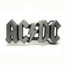 Pewter Hollow AC DC Music Metal Belt Buckle Mens Vintage Cool Rock Roll Silver