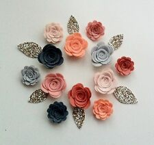 Sizzix die cut felt 3d flowers & glitter leaves.Sewing,flower headbands,garlands