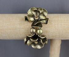 Amber Gold Big Huge floral flower stretch bangle bracelet
