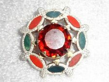 fine old Scottish sterling silver jasper and jade pin