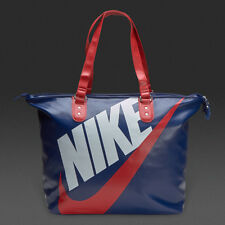 Nike Heritage SI Tote Ladies Sports Bag Dark Blue Red swoosh Faux Leather 2016
