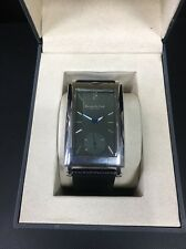 Kenneth Cole Men's Rectangle Watch, Black Leather Strap, Green Face, Analog BNIB