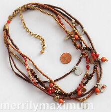 Chico's Signed Necklace Gold Tone Red Bronze Copper Wood Silver Multi Strands