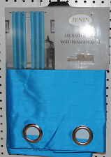 4 TURQUOISE PANEL SILK  BLACKOUT HEAVY THICK GROMMET WINDOW CURTAIN LINED DRAPE
