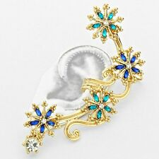 Gold, Blue Zircon & Sapphire Crystal Flower Cloud Ear Cuff Earring