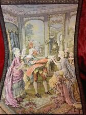 Ant FRENCH TAPESTRY, Royals In Drawing Room. Velvet Mat, Metallic Ribbon Trim