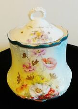 ANTIQUE PORCELAIN BISCUIT JAR WITH HANDPAINTED POPPIES FLORAL
