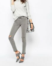 J BRAND SILVER FOX GREY RIPPED JEANS W25 UK 6/8