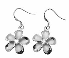 18MM STERLING SILVER 925 HAWAIIAN PLUMERIA FLOWER HOOK WIRE EARRINGS RHODIUM
