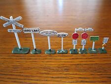 8 Road Signs for HO Scale Model Railroad (Excellent)