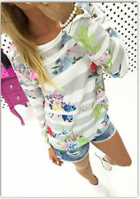 2015 womens Strip Flower Long Sleeve Sweatshirts Basic Winter Shirt Tops Blouse