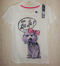 "NWT GIRLS Gap ""Ooo La La"" Poodle NOVELTY WHITE T-SHIRT SIZE XL"