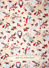 Studio E Chilly Silly Snowmates Snowmen Toss Christmas Cream Cotton Fabric YARD