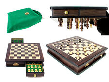 "Travel Magnetic Chess Set Rosewood 9"" - Algebraic Notation - Checkers / Draughts"