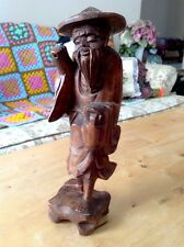 VINTAGE 19C CHINESE HARD WOOD CARVED STATUE