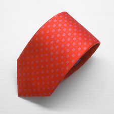 NWT $230 Brioni Tie in Bright Red Silk Print with White and Lavender Geometric