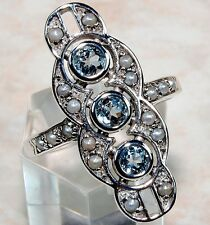 1CT Aquamarine 925 Solid Sterling Silver Edwardian Style Ring Sz 8,F5-2