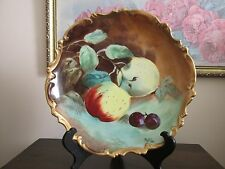 "Limoges France Coronet Hand Painted Fruit 10"" Charger Wall Plate Signed MuPlier"