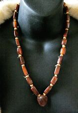 Vintage Dark Amber Agate Heart Rectangular Beads Knotted  Necklace 22''