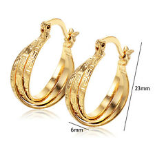 Womens 22K Solid Real Yellow Gold Filled Twisted Embossed Hoop Earring