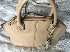 Tignanello Italian Leather Small Dome Satchel Handbag Bag Putty/ Stone Colour